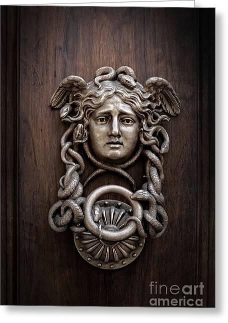 Medusa Head Door Knocker Greeting Card by Edward Fielding
