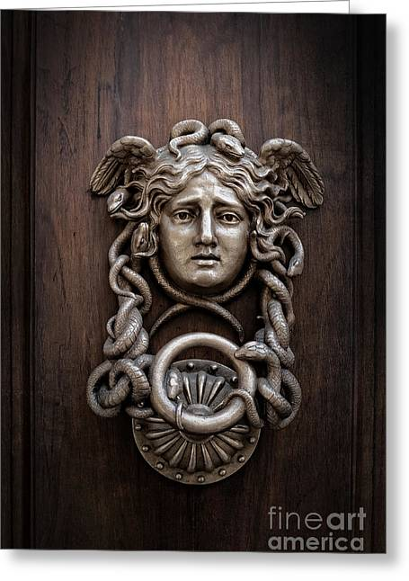 Mystic Photographs Greeting Cards - Medusa Head Door Knocker Greeting Card by Edward Fielding