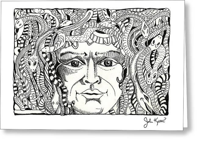 Medusa Greeting Card by John Keaton