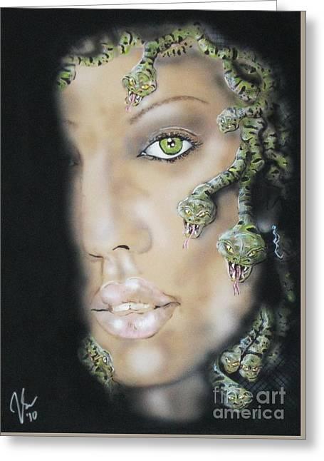 Medusa Greeting Card by John Sodja