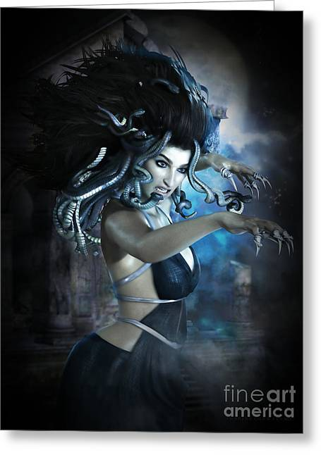 Medusa Digital Greeting Cards - Medusa Greeting Card by Shanina Conway