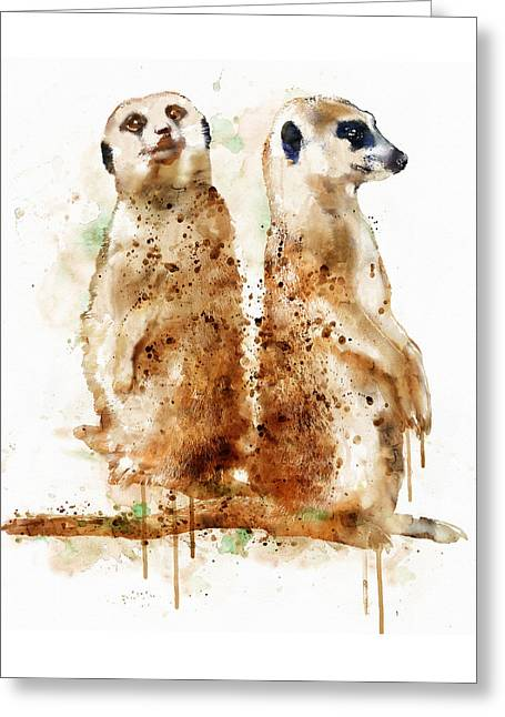 Wildlife Watercolor Greeting Cards - Meerkats Greeting Card by Marian Voicu