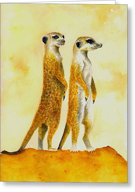 Meerkats Greeting Card by Michael Vigliotti