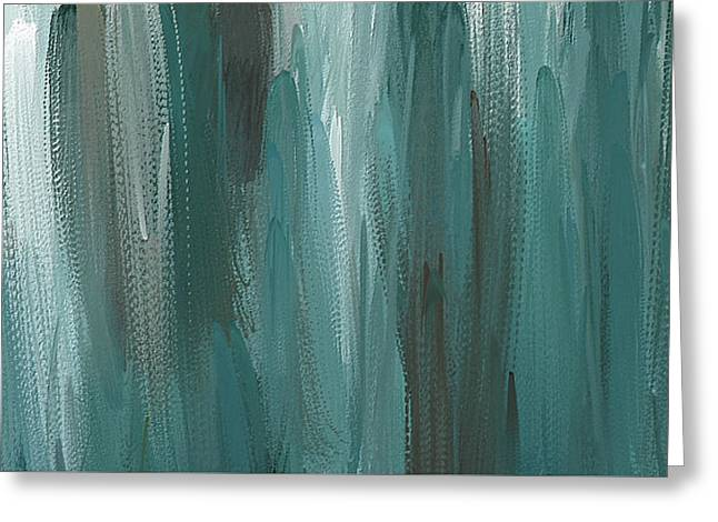 Meet Halfway - Teal And Gray Abstract Art Greeting Card by Lourry Legarde