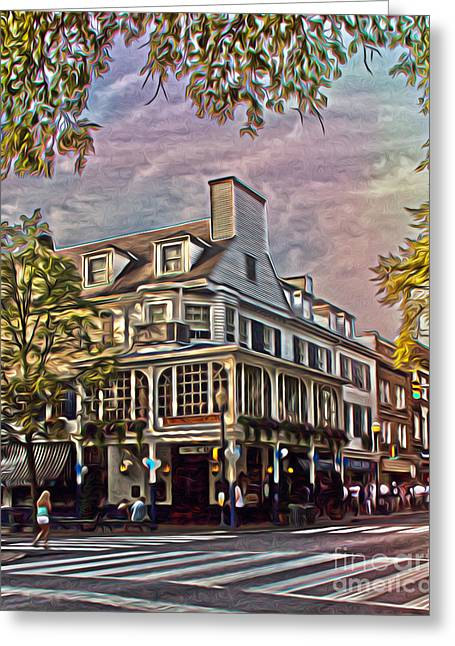 Main Street Greeting Cards - Meet Me At The Corner Greeting Card by Tom Gari Gallery-Three-Photography