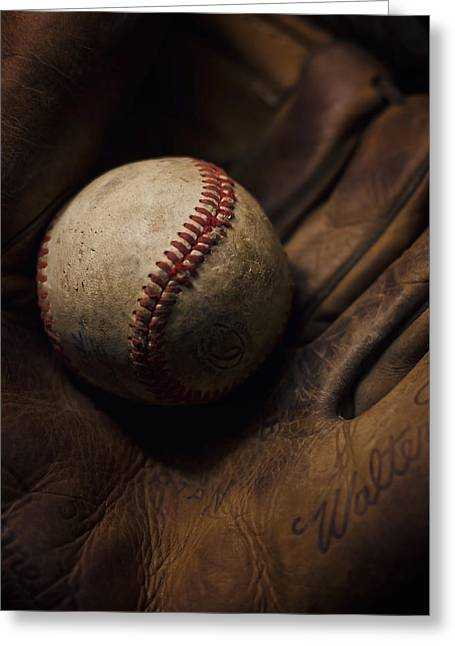 Softball Mitt Greeting Cards - Meet Me At The Sandlot Greeting Card by Heather Applegate
