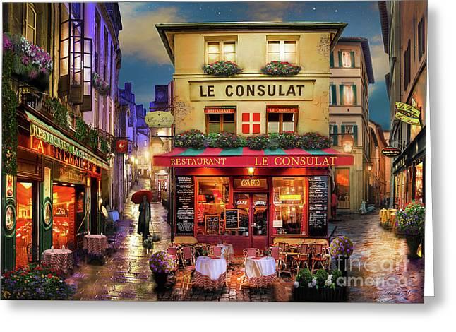 Meet Me In Paris Greeting Card by David Maclean
