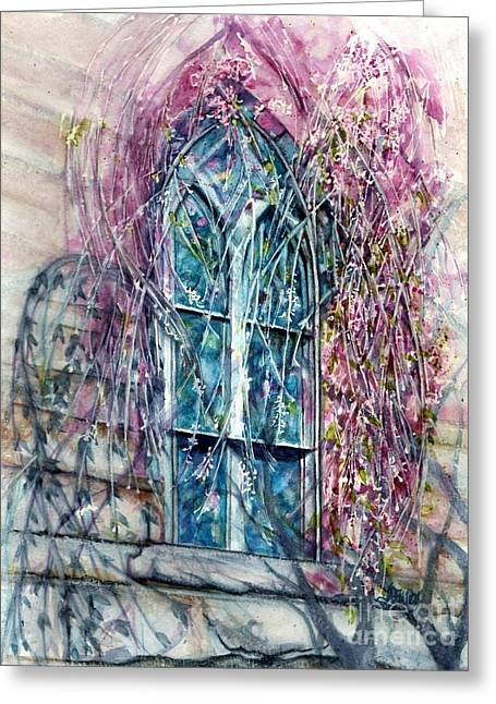 Meet Me In The Springtime - Stained Glass Window  Greeting Card by Janine Riley