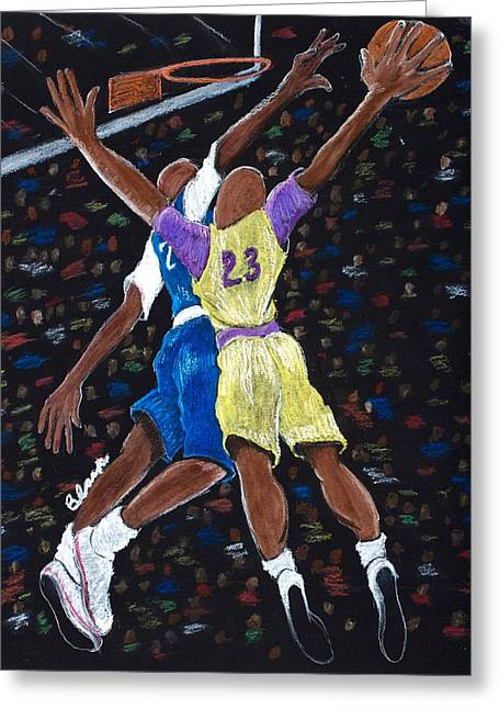 Basketball Pastels Greeting Cards - Meet You Up Top Greeting Card by Charlie Black