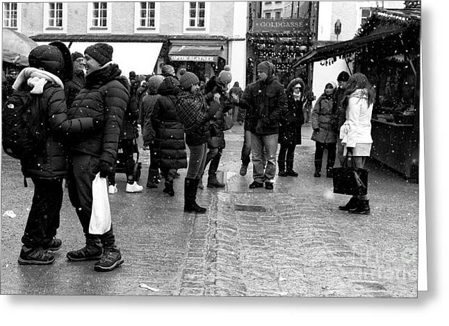 Salzburg Greeting Cards - Meeting at the Christkindlmarkt Greeting Card by John Rizzuto