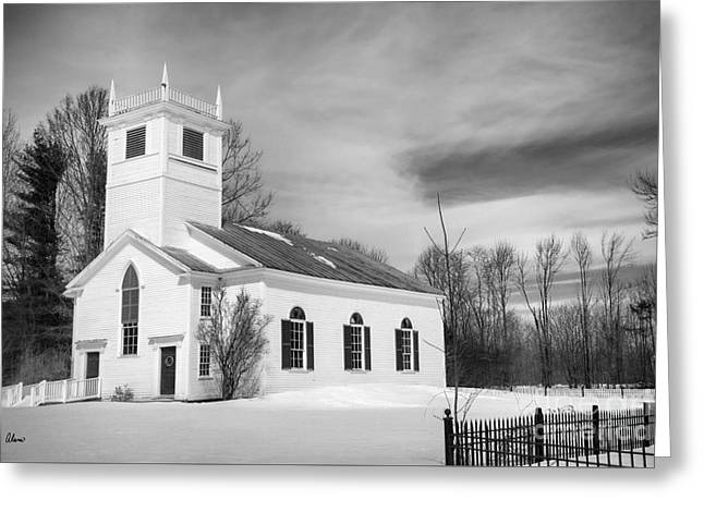 Old Maine Houses Greeting Cards - Meeting House Greeting Card by Alana Ranney