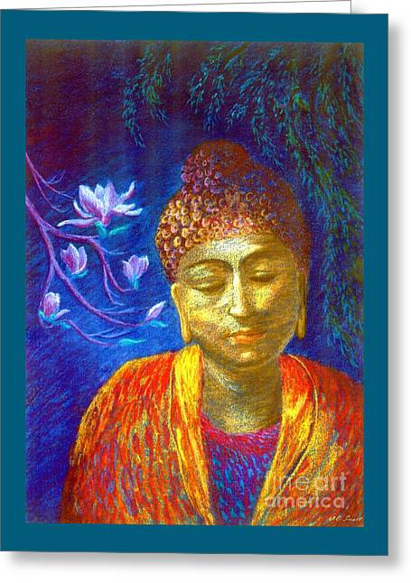 Meeting With Buddha Greeting Card by Jane Small