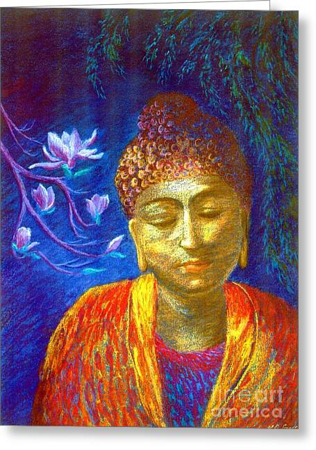 Tranquil Paintings Greeting Cards - Meeting with Buddha Greeting Card by Jane Small