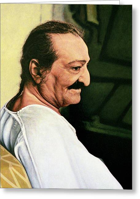 Baba Paintings Greeting Cards - Meher Baba 3 Greeting Card by Nad Wolinska