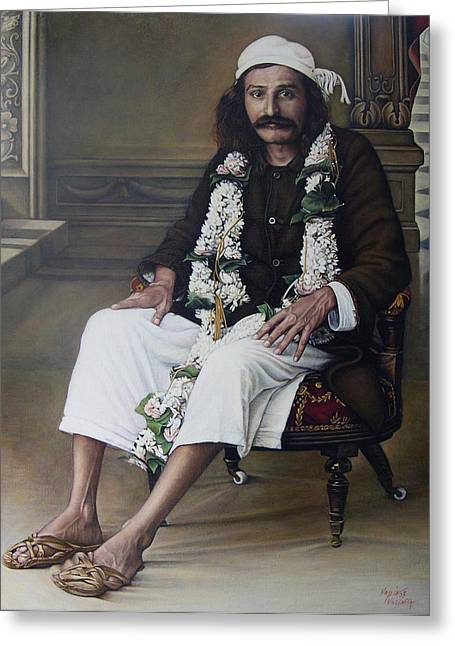 Baba Paintings Greeting Cards - Meher Baba Greeting Card by Nad Wolinska