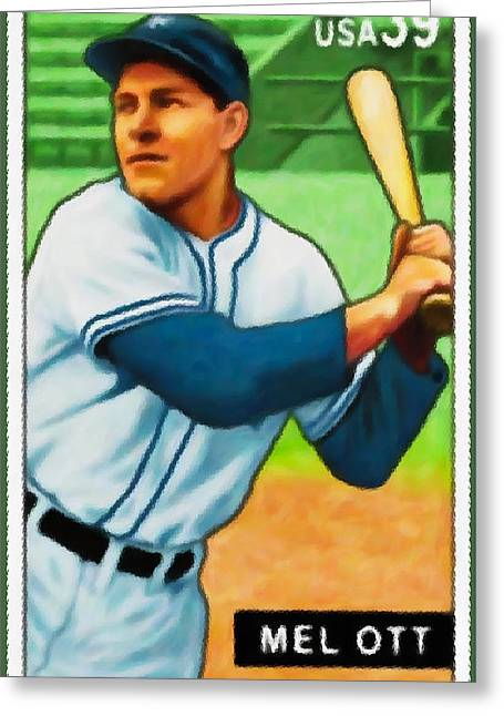 Baseball Uniform Paintings Greeting Cards - Mel Ott Greeting Card by Lanjee Chee