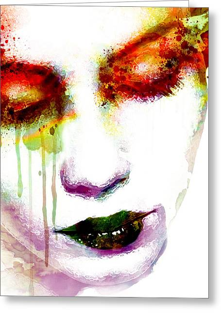 Melancholy In Watercolor Greeting Card by Marian Voicu