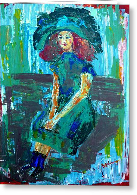 Woman With Big Hair Greeting Cards - Melancholy Mind Greeting Card by Beth Sebring
