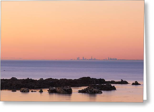 Surf City Greeting Cards - Melbourne CBD skyline at sunset in the distance Greeting Card by Greg Brave