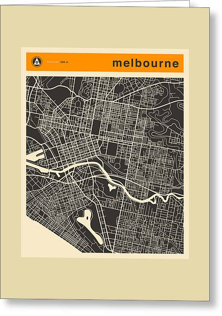 Australia Map Greeting Cards - Melbourne Map Greeting Card by Jazzberry Blue