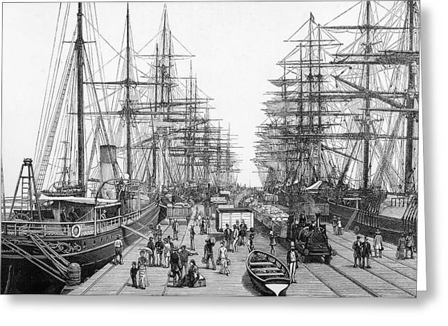 Tall Ships Drawings Greeting Cards - Melbourne Victoria Australia Railway Greeting Card by Ken Welsh