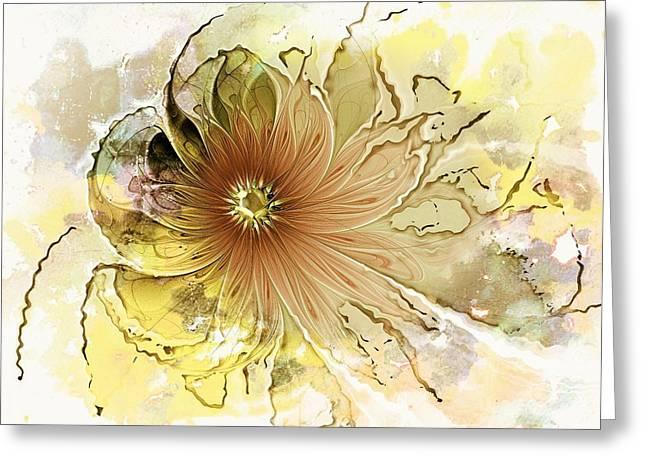 Fractals Fractal Digital Art Greeting Cards - Mellow Yellow Greeting Card by Amanda Moore