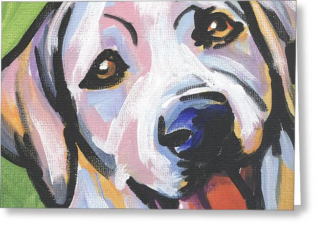 Puppies Paintings Greeting Cards - Mellow Yellow Greeting Card by Lea