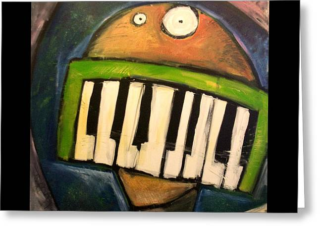 Eyes Paintings Greeting Cards - Melodica Mouth Greeting Card by Tim Nyberg