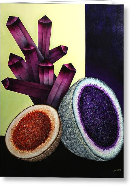 Stonewall Glass Greeting Cards - Melons and Amethyst Greeting Card by Jose Masis-Oliver