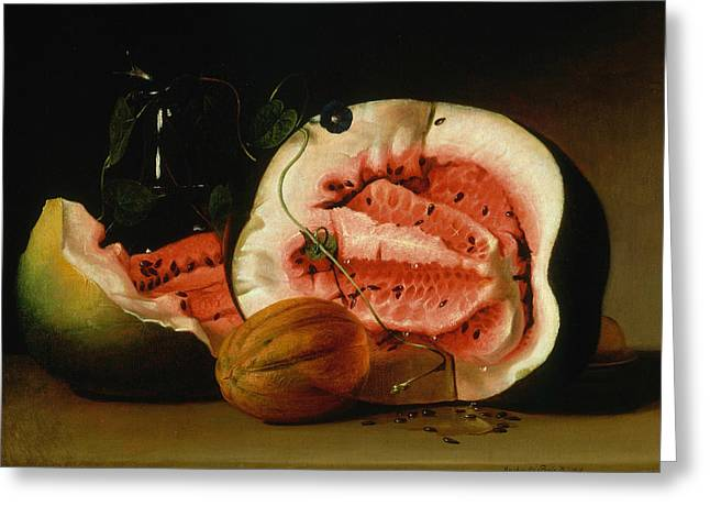 Melons And Morning Glories  Greeting Card by Raphaelle Peale