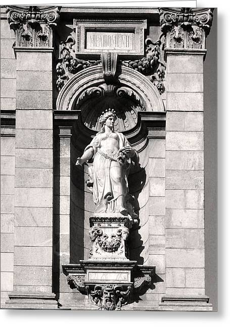 Belles Sculptures Greeting Cards - Melpomene Sculpture Budapest Greeting Card by James Dougherty