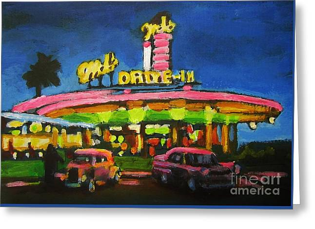 In-city Drawings Greeting Cards - Mels Drive In One Greeting Card by John Malone