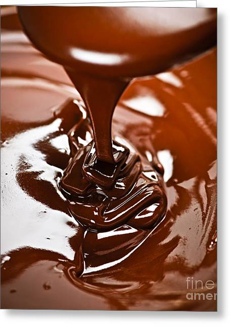 Melting Greeting Cards - Melted chocolate and spoon Greeting Card by Elena Elisseeva