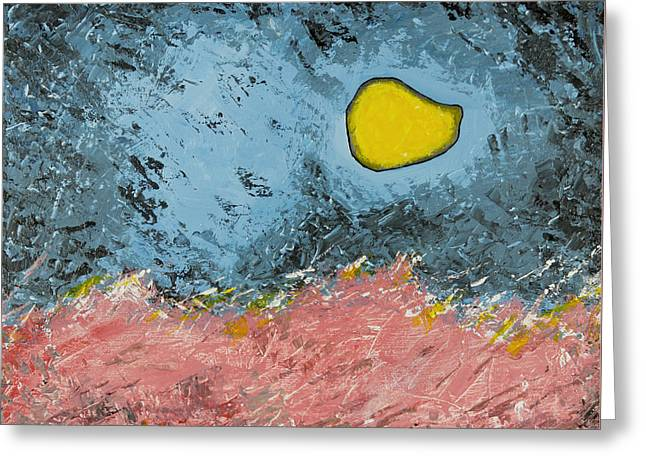 Planet Earth Greeting Cards - Melting Moon Over Drifting Sand Dunes Greeting Card by Ben Gertsberg