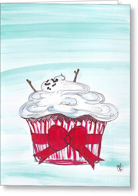 Humorous Greeting Cards Mixed Media Greeting Cards - Melty Snow Man Cuppy Cake Greeting Card by Cheryl Seagraves