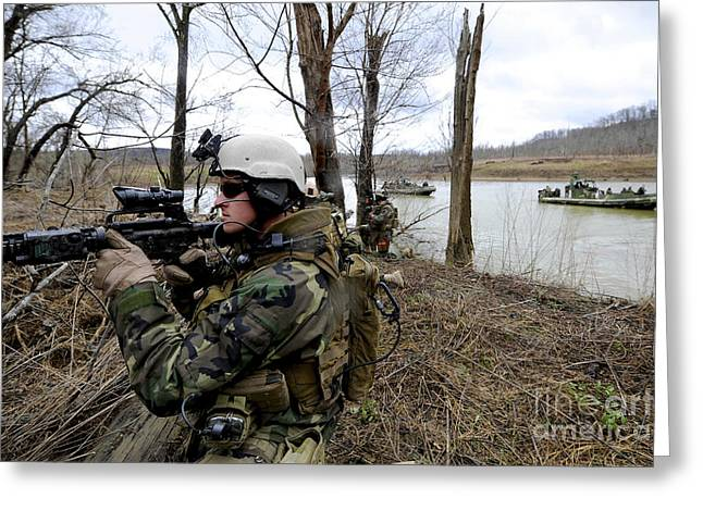 Assault Rifles Photographs Greeting Cards - Members Of The Riverine Security Team Greeting Card by Stocktrek Images