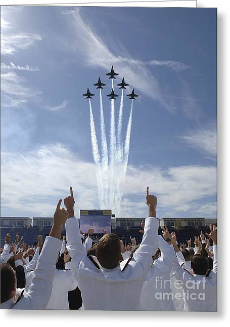 Looking Up Greeting Cards - Members Of The U.s. Naval Academy Cheer Greeting Card by Stocktrek Images