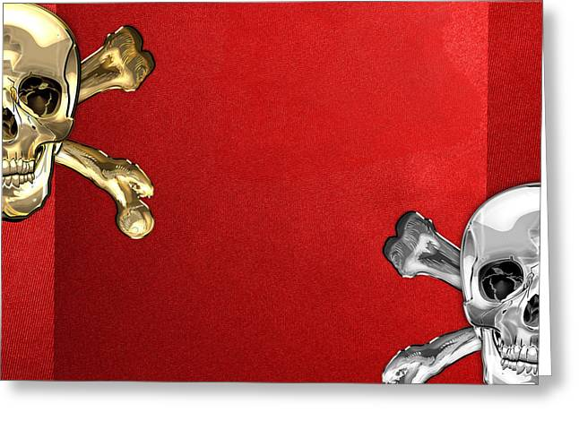 Detachment Greeting Cards - Memento Mori - Gold and Silver Human Skulls and Bones on Red Canvas Greeting Card by Serge Averbukh