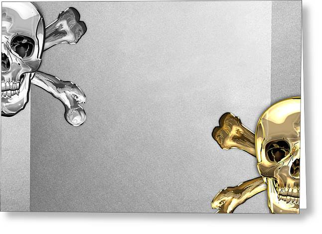 Detachment Greeting Cards - Memento Mori - Gold and Silver Human Skulls and Bones on White Canvas Greeting Card by Serge Averbukh