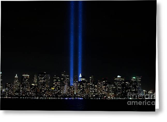 Wtc 11 Greeting Cards - Memorial Lights 911 September 11th Greeting Card by Robert Wirth