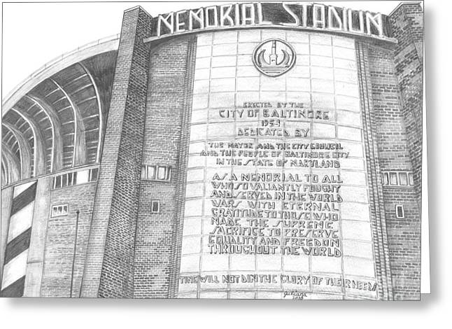 Memorial Stadium Greeting Card by Juliana Dube