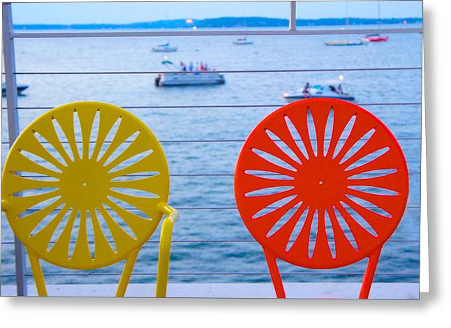 Union Terrace Greeting Cards - Memorial Union Terrace Chairs Greeting Card by Sheela Ajith