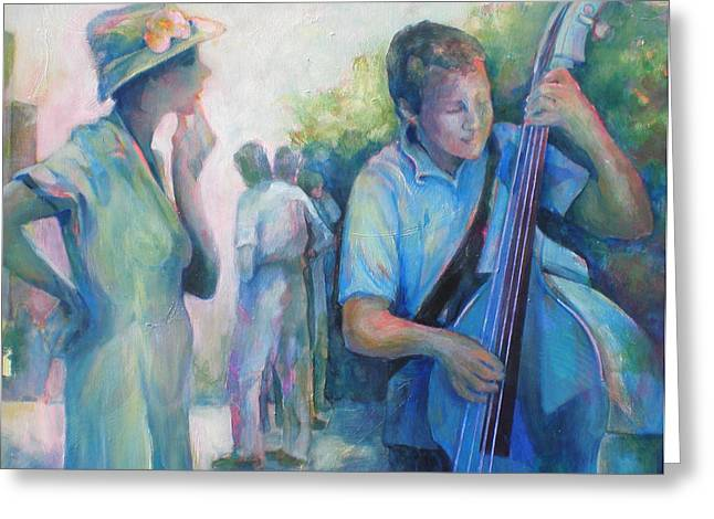 Bass Player Greeting Cards - Memories -  Woman Is Intrigued By Musician.  Greeting Card by Susanne Clark