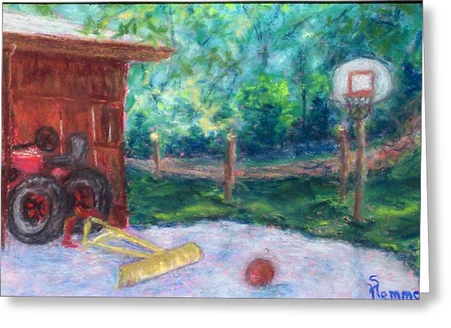 Basketball Pastels Greeting Cards - Memories 3 Greeting Card by Sandy Hemmer
