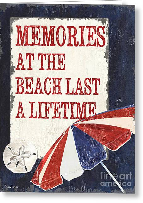 Beach House Paintings Greeting Cards - Memories at the Beach Greeting Card by Debbie DeWitt
