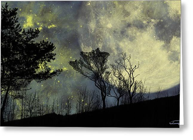 Night Forest Greeting Cards - Memories Greeting Card by Emma Alvarez