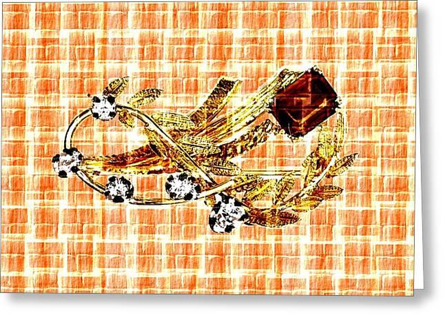 Abstract Digital Pastels Greeting Cards - Memories of Grandmas Brooches no. 12 H b Greeting Card by Gert J Rheeders