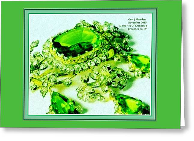Memories Of Grandma's Brooches No 18 H A With Decorative Ornate Printed Frame. Greeting Card by Gert J Rheeders