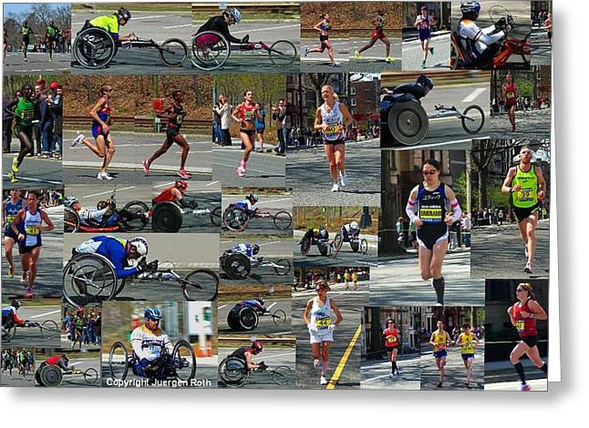 Athletic Photo Greeting Cards - Memories of the 2011 Boston Marathon Greeting Card by Juergen Roth