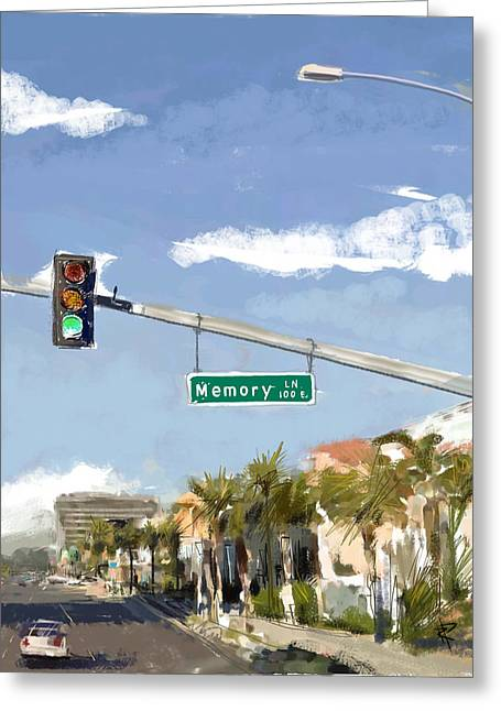 Main Street Mixed Media Greeting Cards - Memory Lane Greeting Card by Russell Pierce